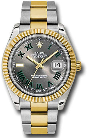 Rolex Datejust 41 Grey Green Roman Dial Steel 18k Yellow Gold and Diamonds Mens Watch 126333 - Johny Watches - New and used Rolex watches in toronto