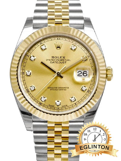 ROLEX DATEJUST 41MM STEEL & YELLOW GOLD DIAMOND DOT / CHAMPAGNE DIAL - Johny Watches - New and used Rolex watches in toronto