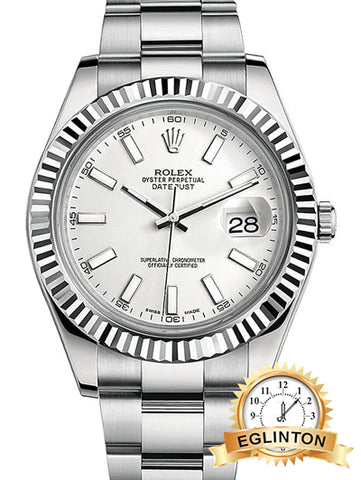 Rolex Datejust II White Index Dial Fluted 18k White Gold Bezel Oyster Bracelet Mens Watch 116334wio - Johny Watches - New and used Rolex watches in toronto