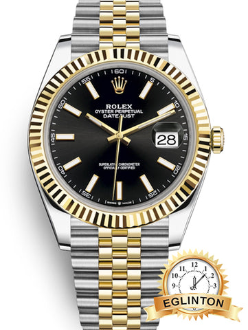 Rolex Datejust 41 Black Dial Men's Gold & Steel Watch 126333 - Johny Watches - New and used Rolex watches in toronto