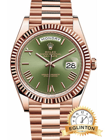 ROLEX DAY-DATE 40 GREEN DIAL ROSE GOLD WATCH 228235 - Johny Watches - New and used Rolex watches in toronto