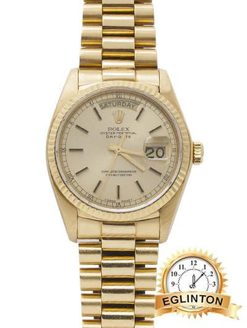ROLEX 36mm Day-Date Champagne Dial 18K Yellow Gold President Automatic 1983