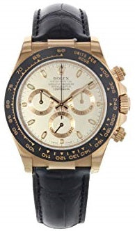 Rolex Daytona 116515 Cosmgraph 18K Rose Gold Ivory Leather Band Watch
