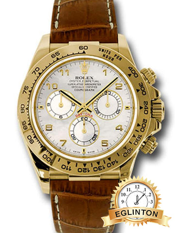 Rolex Cosmograph Daytona, Mother of pearl dial, Leather strap, Yellow gold Watch 116518 - Johny Watches - New and used Rolex watches in toronto