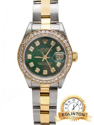 "ROLEX LADIES DATEJUST 69163 Custom Green Diamond Dial & Bezel ""2002"" - Johny Watches - New and used Rolex watches in toronto"