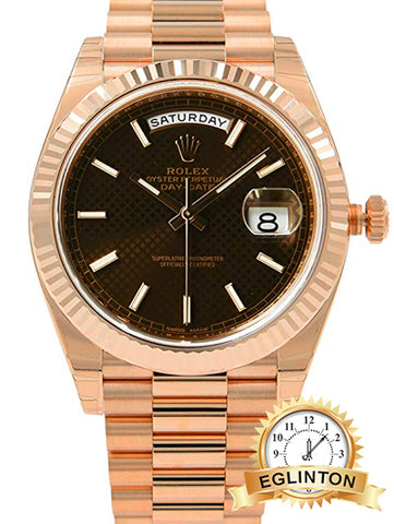 Rolex Day-Date 40 Chocolate Dial 18kt Everose Gold Automatic Mens Watch 228235CHSP - Johny Watches - New and used Rolex watches in toronto