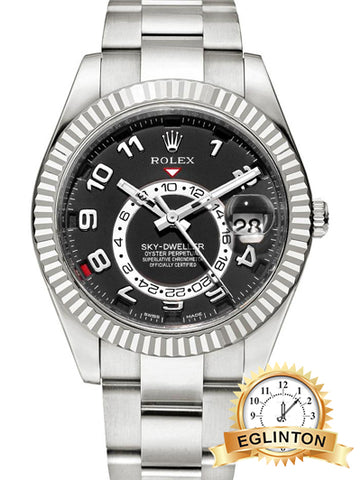 ROLEX SKY-DWELLER WHITE GOLD BLACK DIAL ON OYSTER BRACELET 42MM - Johny Watches - New and used Rolex watches in toronto