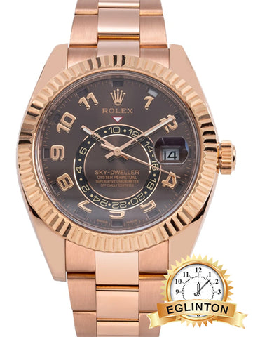 ROLEX Sky Dweller Chocolate Dial 18K Everose Gold Oyster Bracelet Automatic Men's Watch - Johny Watches - New and used Rolex watches in toronto