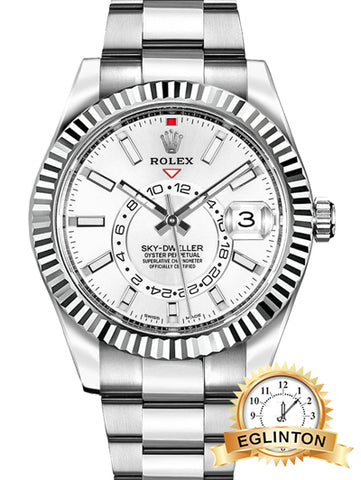 Rolex Sky-Dweller Stainless Steel White Dial 326934 - Johny Watches - New and used Rolex watches in toronto