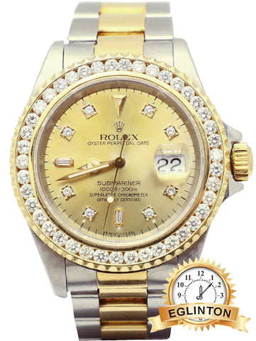 Rolex Submariner with Custom Diamond Bezel & Dial - Johny Watches - New and used Rolex watches in toronto