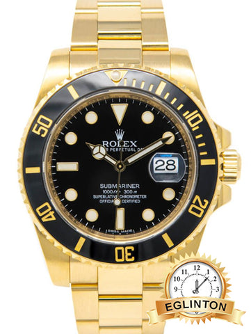 Rolex Submariner Date, Black Face, Yellow Gold, 116618LN - Johny Watches - New and used Rolex watches in toronto