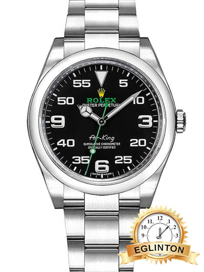 ROLEX 116900 AIR-KING OYSTER PERPETUAL BLACK DIAL MENS LUXURY WATCH - Johny Watches - New and used Rolex watches in toronto