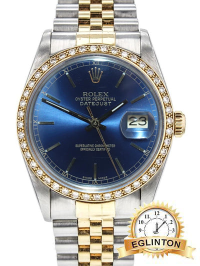 Rolex DateJust 16013 36mm two tone with Diamond Bezel - Johny Watches