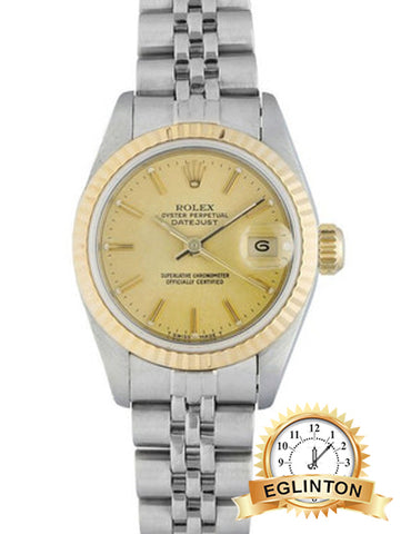 "ROLEX DateJust Automatic Chronometer Champagne Dial Ladies Watch 69173 ""1991"" - Johny Watches - New and used Rolex watches in toronto"