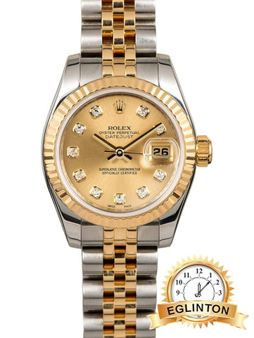 "Rolex Ladies Datejust 179173 Champagne Diamond Dial ""2006"" - Johny Watches - New and used Rolex watches in toronto"