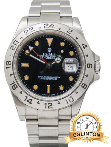 "BLACK DIAL ROLEX EXPLORER II REF 16570 STEEL OYSTER With patina ""1991"" - Johny Watches"