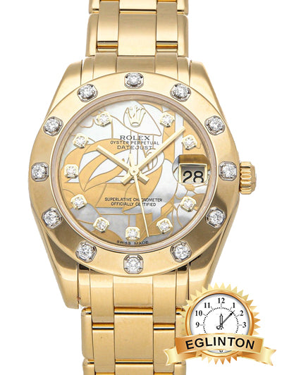 ROLEX Yellow Goldust Dream Diamonds 18k Yellow Gold Pearlmaster 81318 34mm - Johny Watches