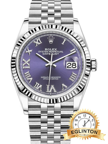 Rolex Datejust 36mm Stainless Steel 126234 Aubergine Roman VI IX Jubilee - Johny Watches - New and used Rolex watches in toronto