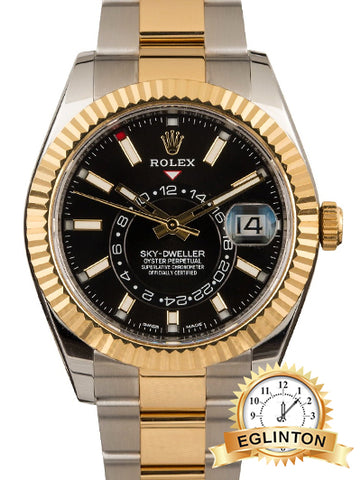 Rolex Sky-Dweller Two Tone Black 326933 - Johny Watches - New and used Rolex watches in toronto