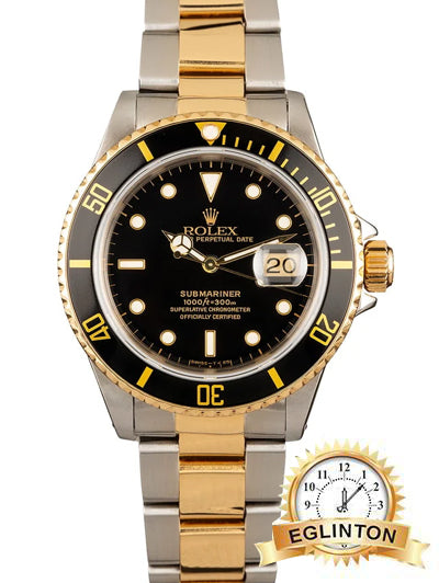 "Rolex Submariner two tone black dial ""2008"" - Johny Watches - New and used Rolex watches in toronto"