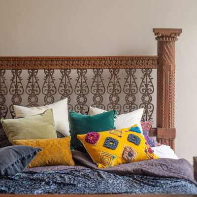 Ian Snow Ltd Old Wooden Carved Bed with Jali Work