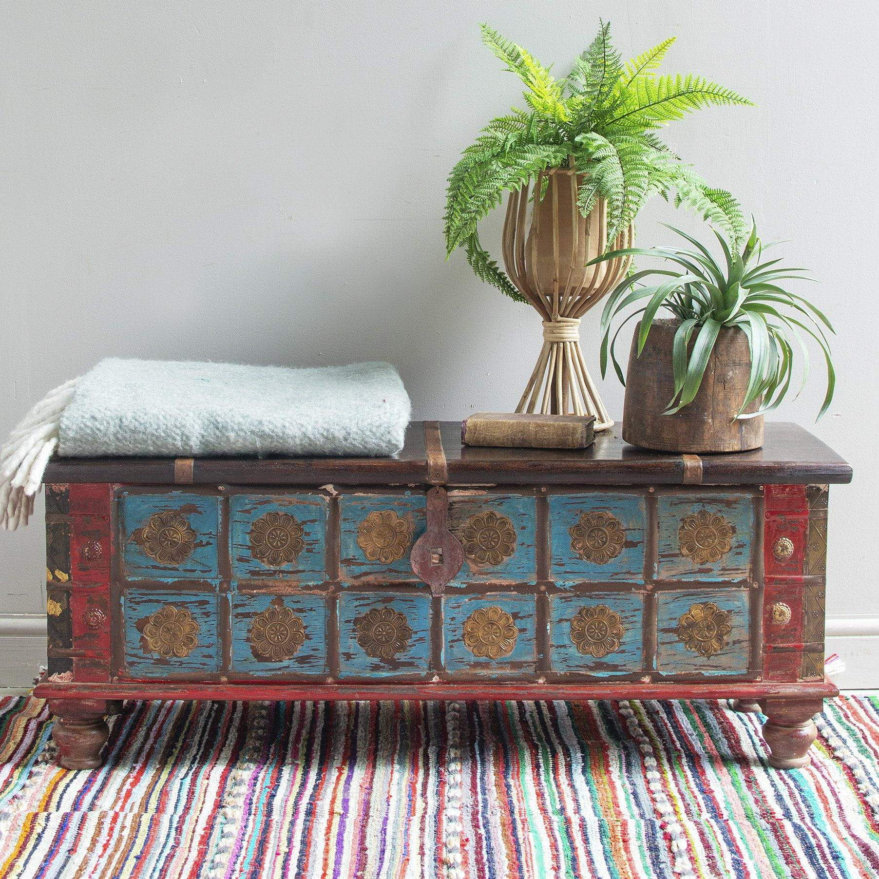 Ian Snow Ltd Blue Painted Trunk made from New and Reclaimed Wood with a Metal Trim