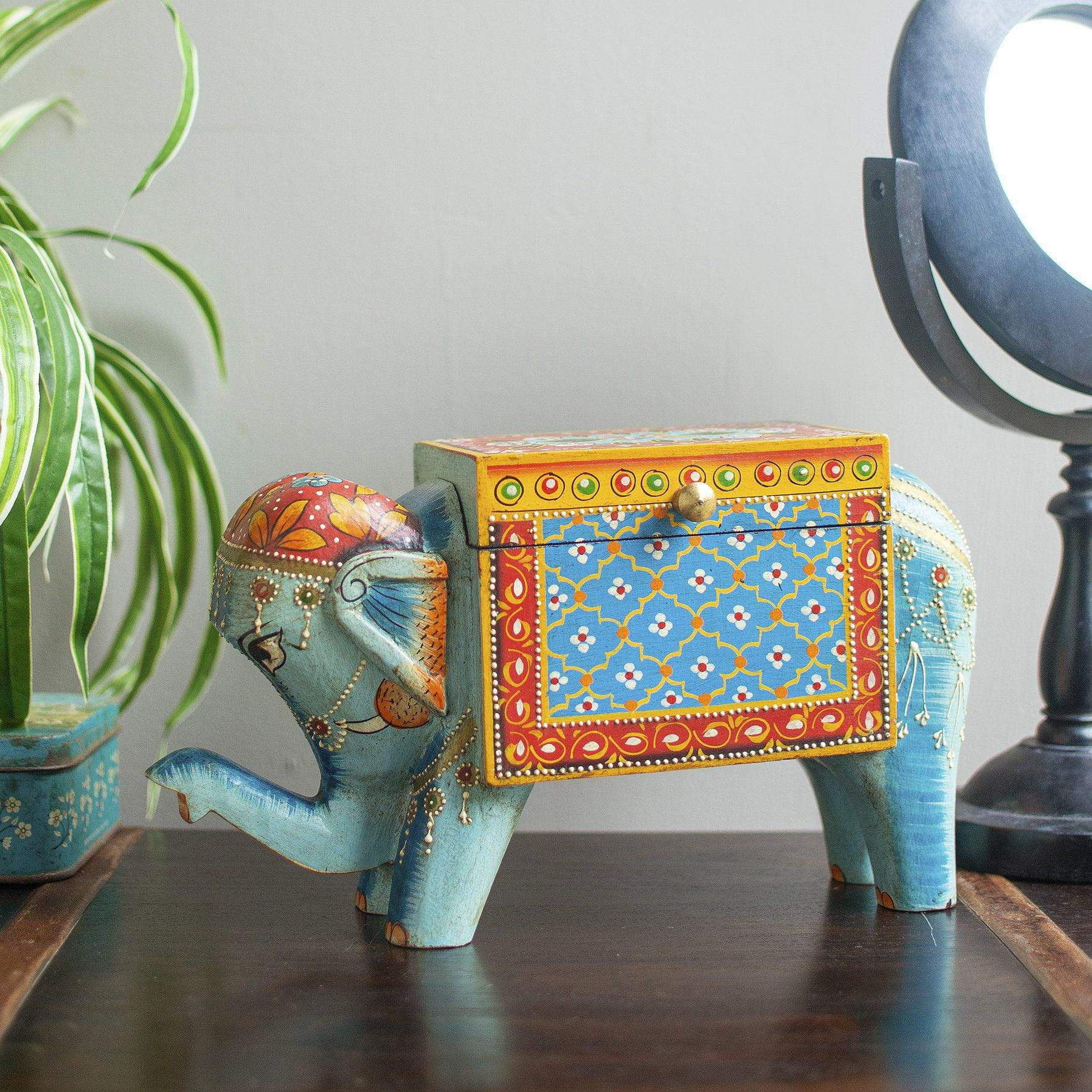 Ian Snow Ltd Blue Hand Painted Elephant Shaped Wooden Box