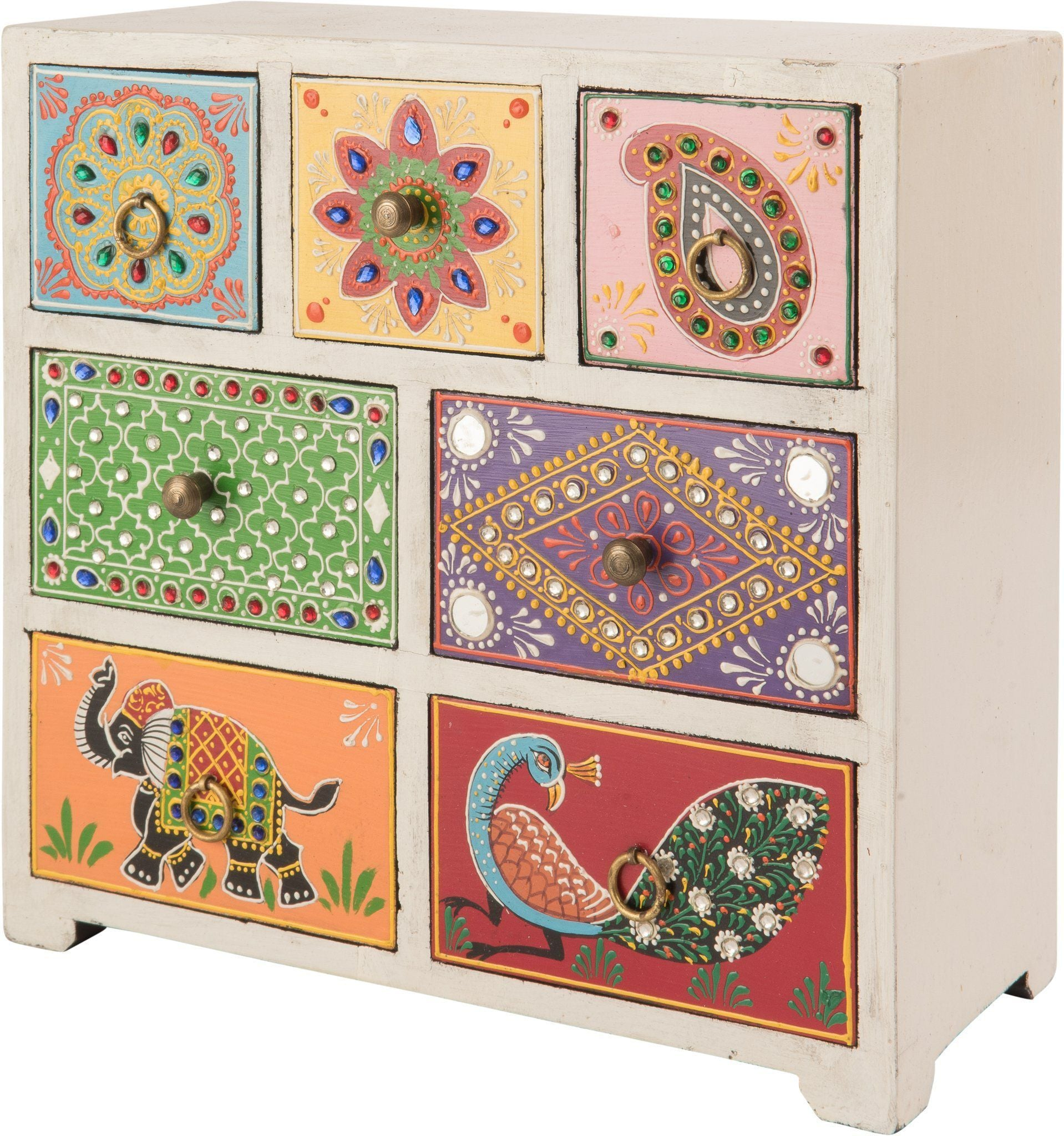 Ian Snow Ltd Hand Painted 7 Drawer Natural Wood Chest