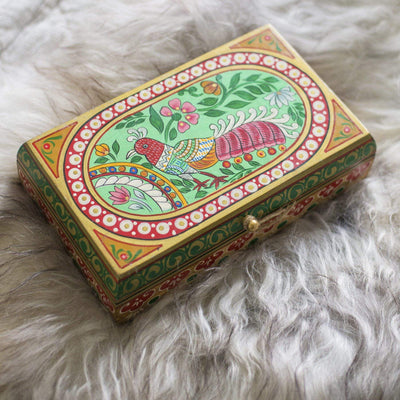 Ian Snow Ltd Peacock Hand Painted Wooden Box