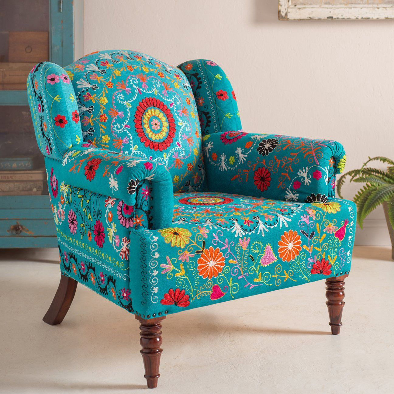 Ian Snow Ltd Blue Eliya Embroidered Velvet Armchair