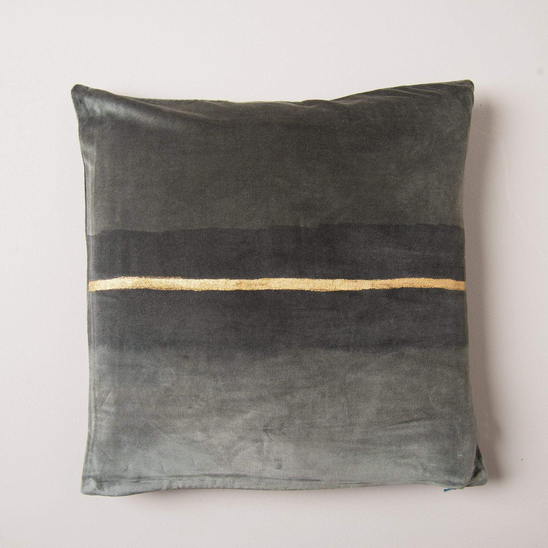 Ian Snow Ltd Gold Glitter Hand Painted Light Grey Cotton Velvet Cushion