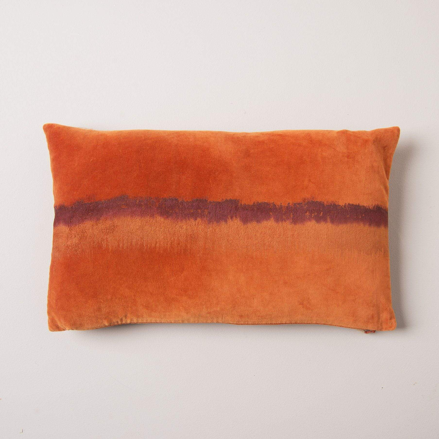 Ian Snow Ltd Maroon Stripe Hand Painted Orange Cotton Velvet Cushion