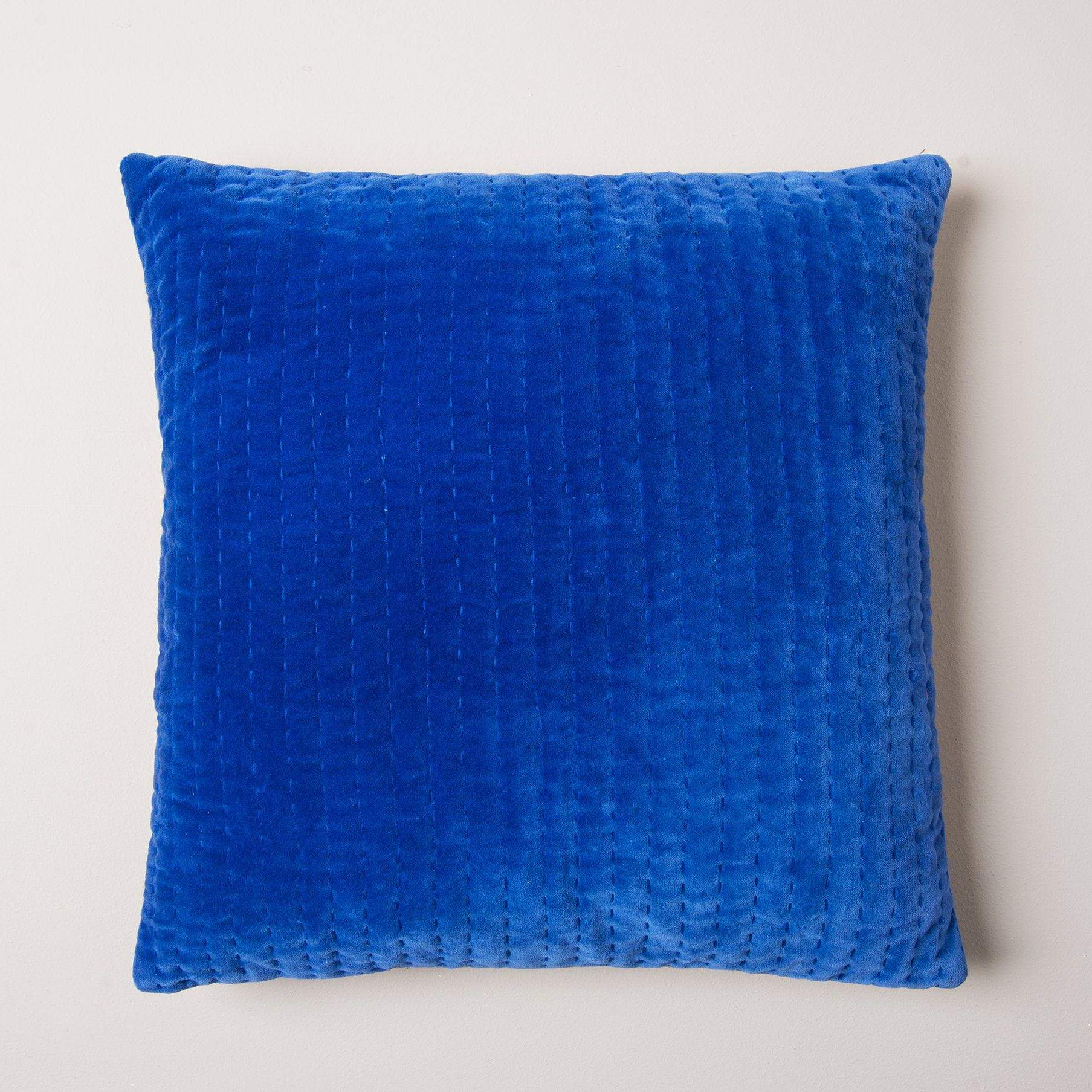 Ian Snow Ltd Velvet Cushion with Gudri Work in Mid Blue