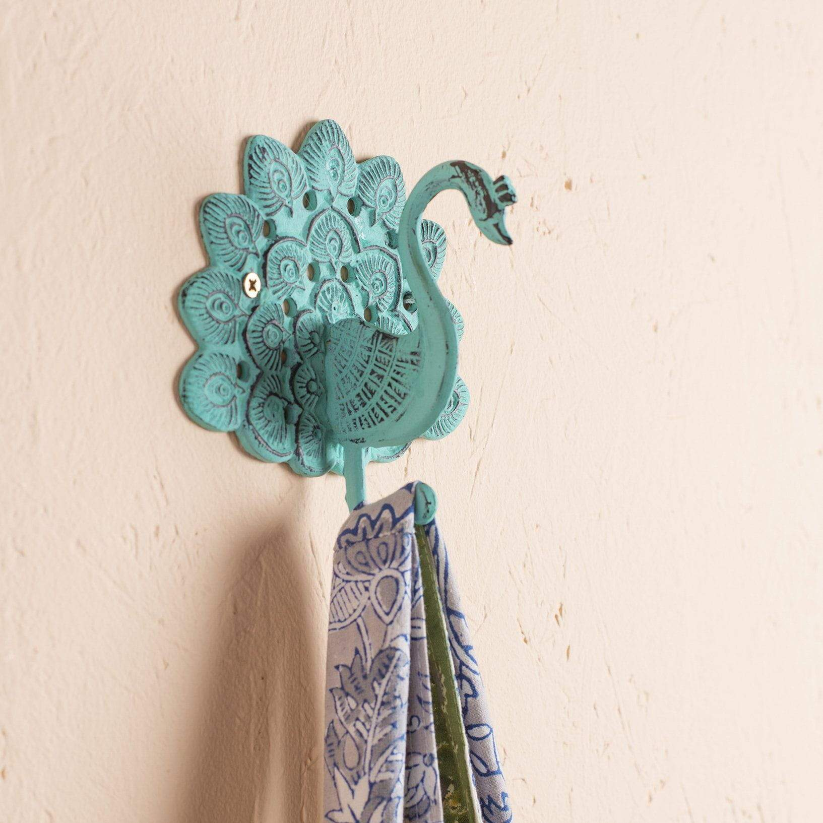 Ian Snow Ltd Verdigris Iron Peacock Hook