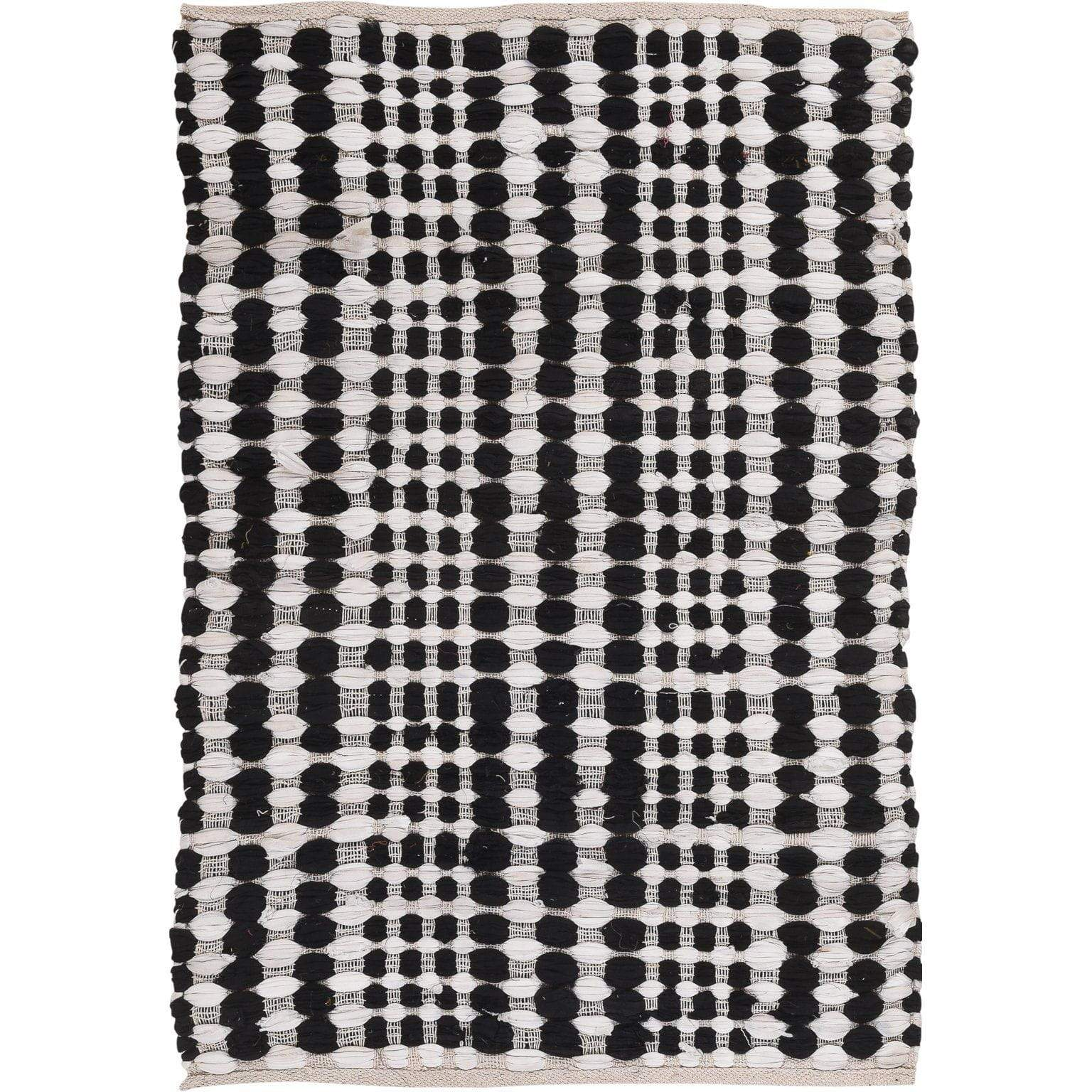 Ian Snow Ltd Black & White cotton Slub Rug