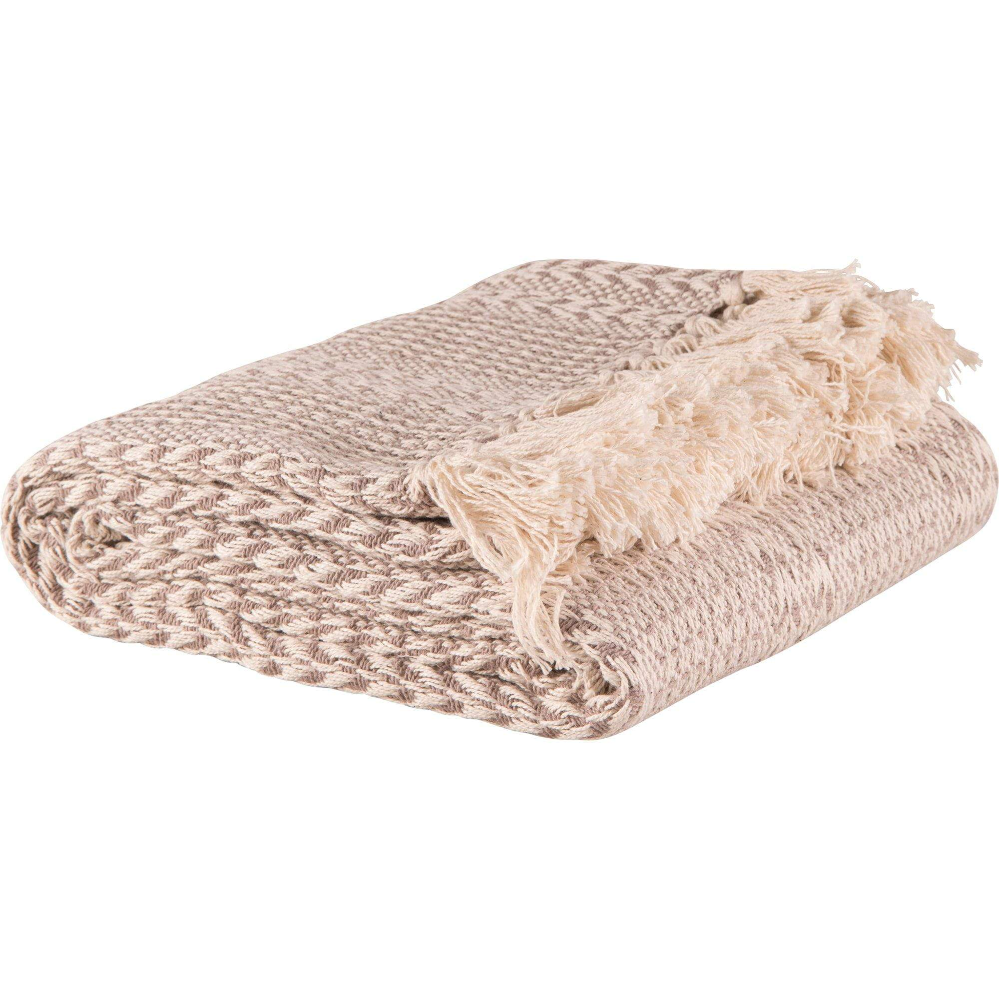 Ian Snow Ltd Beige Cotton Stripe Weave Throw