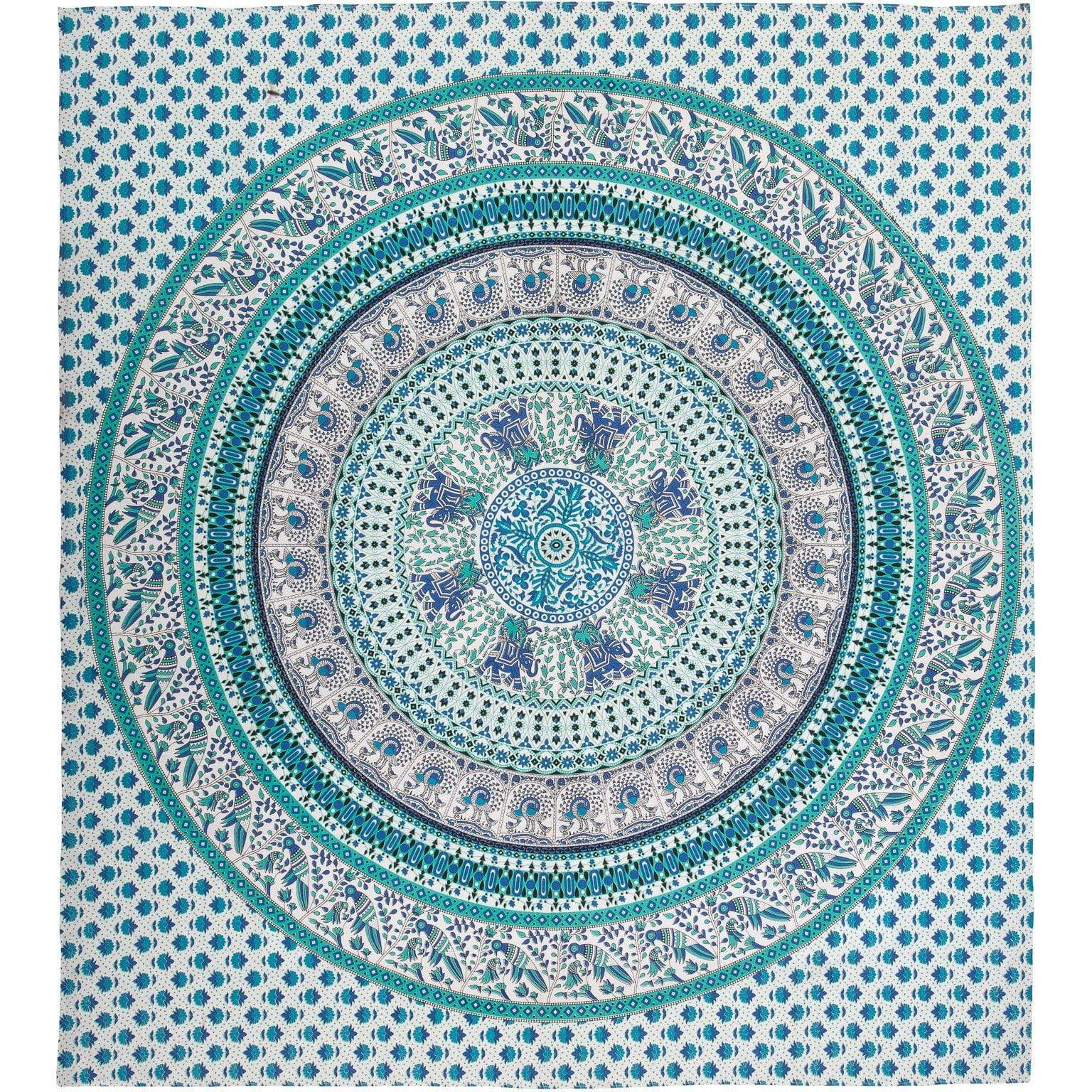 Ian Snow Ltd Catalan Cotton Throw Turquoise & White