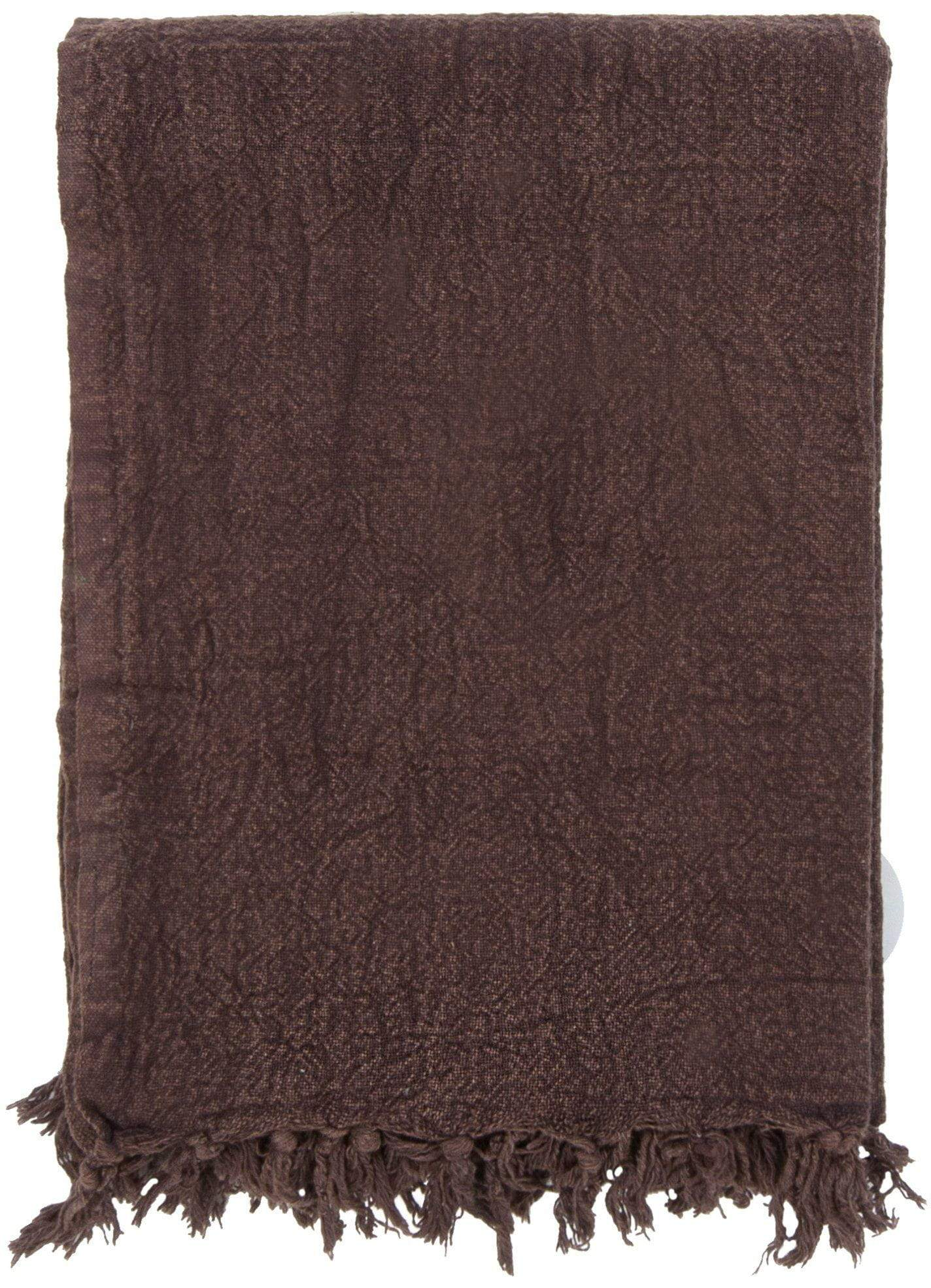 Ian Snow Ltd Chocolate Cotton Throw with Tassels