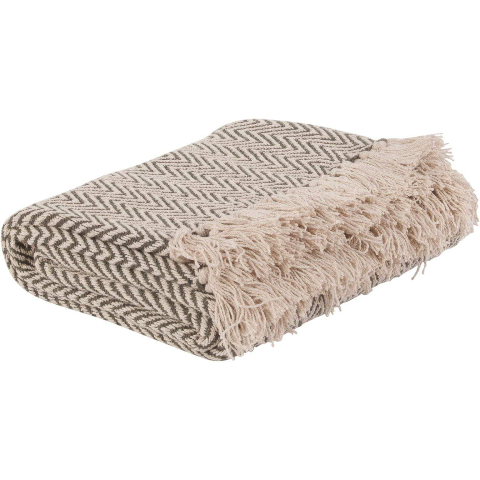 Ian Snow Ltd Dusky Green Cotton Herringbone Throw