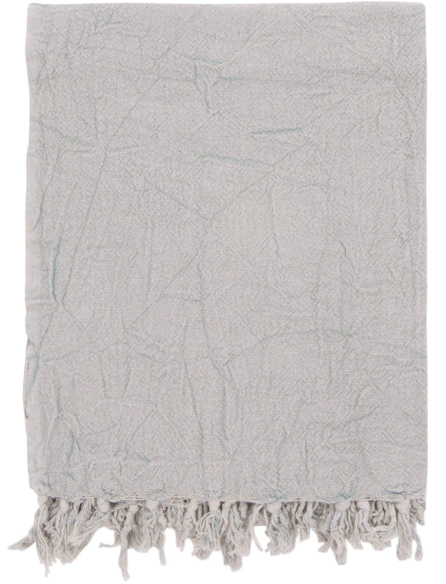 Ian Snow Ltd Light Grey Cotton Throw with Tassels