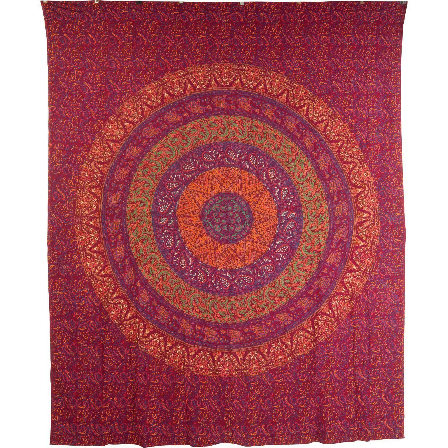 Ian Snow Ltd Maroon Sanganeri Circle Design Cotton Throw