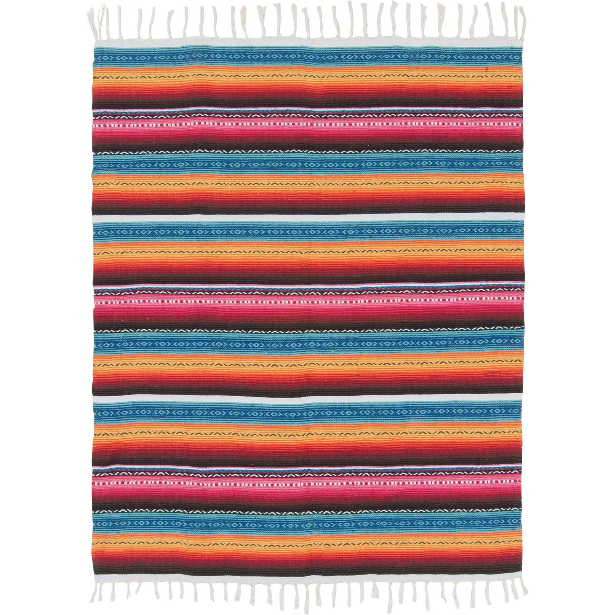 Ian Snow Ltd Multi Pink Handwoven Soft Cotton Mexicano Throw