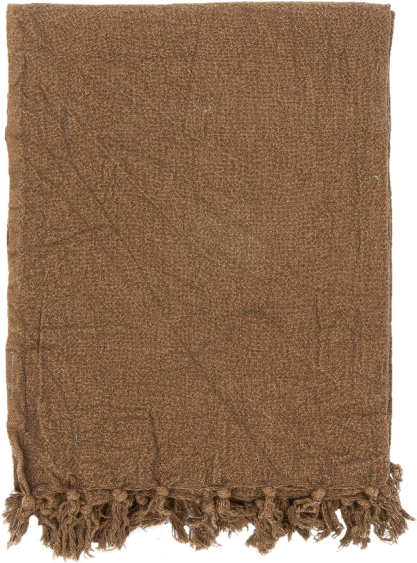 Ian Snow Ltd Olive Cotton Throw with Tassels