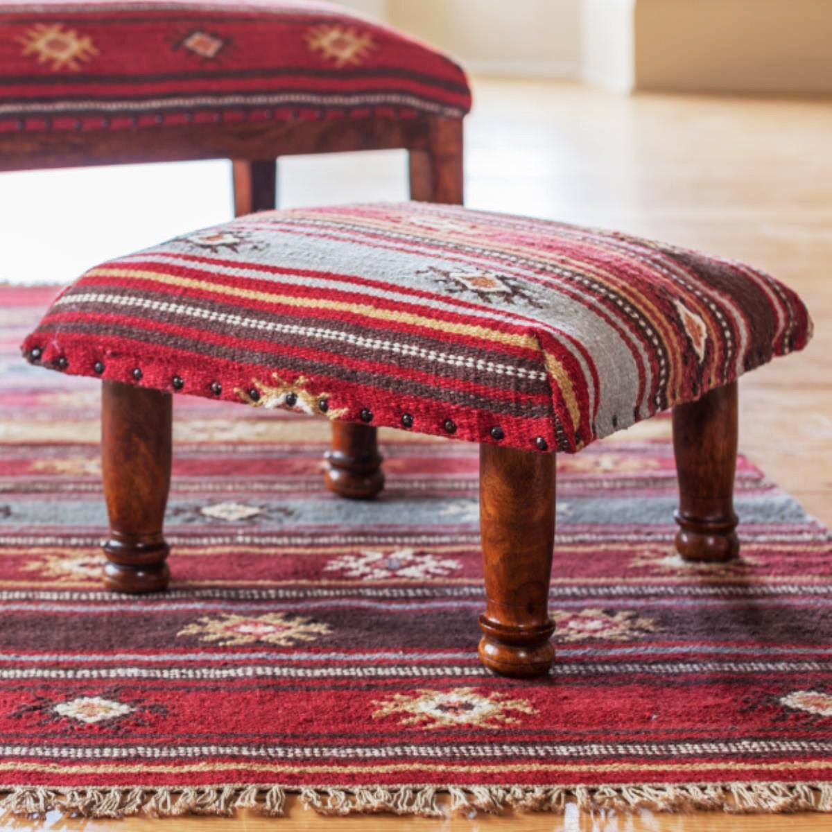 MYAKKA Red Tribal Kilim Footstool