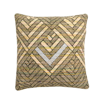 MYAKKA Geometric Recycled Silk Chindi Cushion Natural / Cover Only