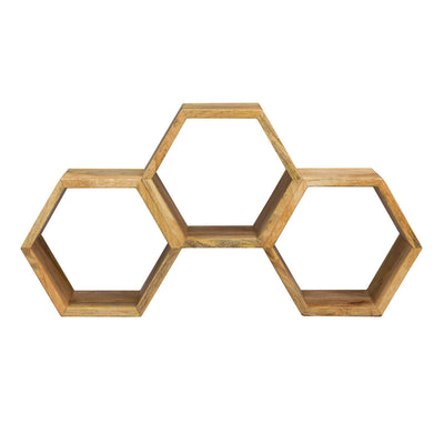 MYAKKA Honeycomb Wooden Wall Shelf