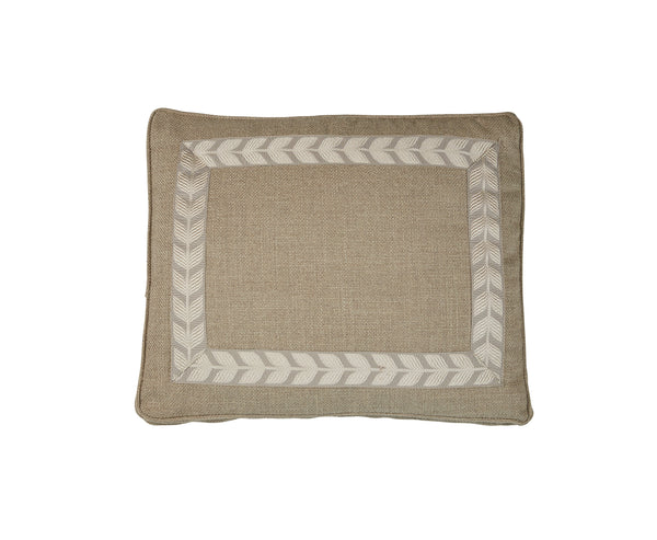 Boxed Standard Pillow in Nubby Natural with Taupe leaf