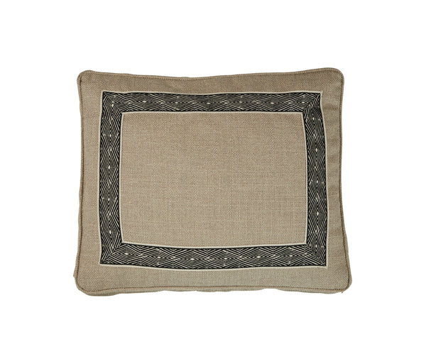Boxed Standard Pillow in Nubby Natural with Black Tribal Tape