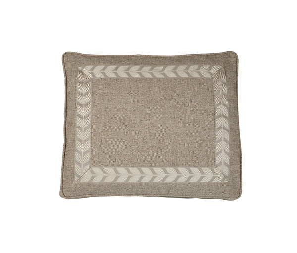 Boxed Standard Pillow in Nubby Walnut with Taupe Leaf Tape