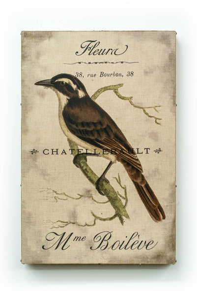 Single Layer Art on Linen Dark Brown Bird